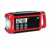 Midland Emergency Crank Radio Red Noaa Weather Solar Battery Phone Charger