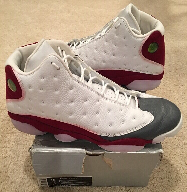 Nike Air Jordan Retro 13 XIII White Team Red Flint Grey Toe Size 15 2005