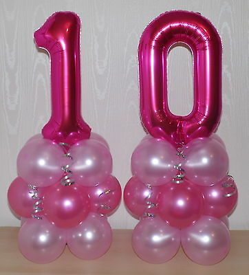 10th BIRTHDAY - AGE 10 - FEMALE - GIRL- FOIL BALLOON DISPLAY - TABLE CENTREPIECE