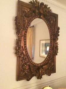 Antique ornate gold leaf wall mirror 60 in x 40 in for Mirror 40 x 60