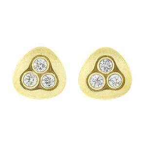 Alex Sepkus 18K Yellow Gold Swirling Water Bezel Diamond Textured Stud Earrings