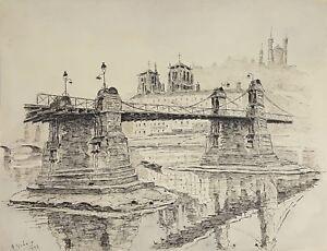 PARIS PONT. DESSIN À L'ENCRE. A. GUERIN. 1942.