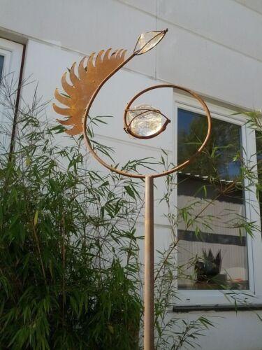 Gartenstecker a.Eisen/& Glas EdelRust Garten Dekoration weiß Metall Glaskugel
