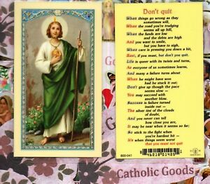 5a0b0c71cf5 Saint St. Jude - Don't Quit Prayer - Laminated Holy Card ...