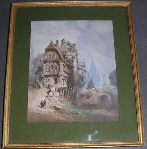 Paul Marny (1829-1914). Vieux Rouen. Peinture originale.