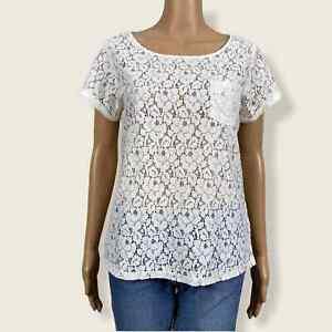 Gap Sheer Crochet Lace Layering Boho Shirt Top SMALL White Floral  Cover Up