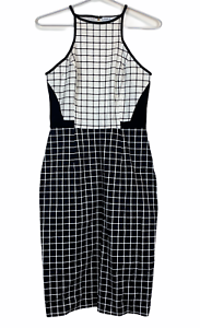 Cooper-St-Womens-Black-White-Check-Halter-Neck-A-Line-Dress-Size-8