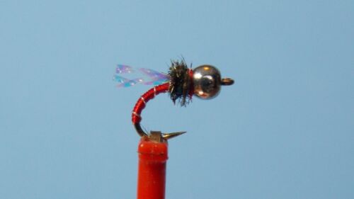 Red Zebra Midge Nymph Fly with flash wing  sz 18  GO TO  PATTERN