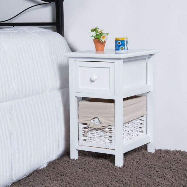 2 Tier 1 Drawer Wooden Bedside Table Organizer Nightstand Bedstand w// Basket US