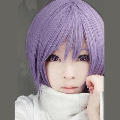 LY_422 Suzumiya Haruhi Nagato Yuki Short Purple Cosplay Hair Wig