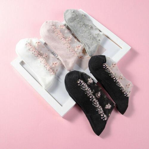 Women Transparent Thin Flower Lace Socks Crystal Silk Short Ankle Socks Summer
