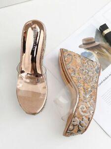zapatillas cuña altos 12 cm zuecos oro transparente elegantes como piel 9506