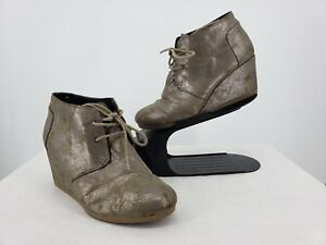 43259413813f Toms Desert Wedge Gray Metallic Lace Up Ankle Bootie Women s US 8.5 ...