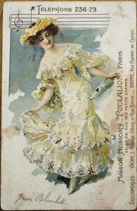 Details about Music Store 1910 Color Litho Advertising Postcard - Paris,  France - Woman