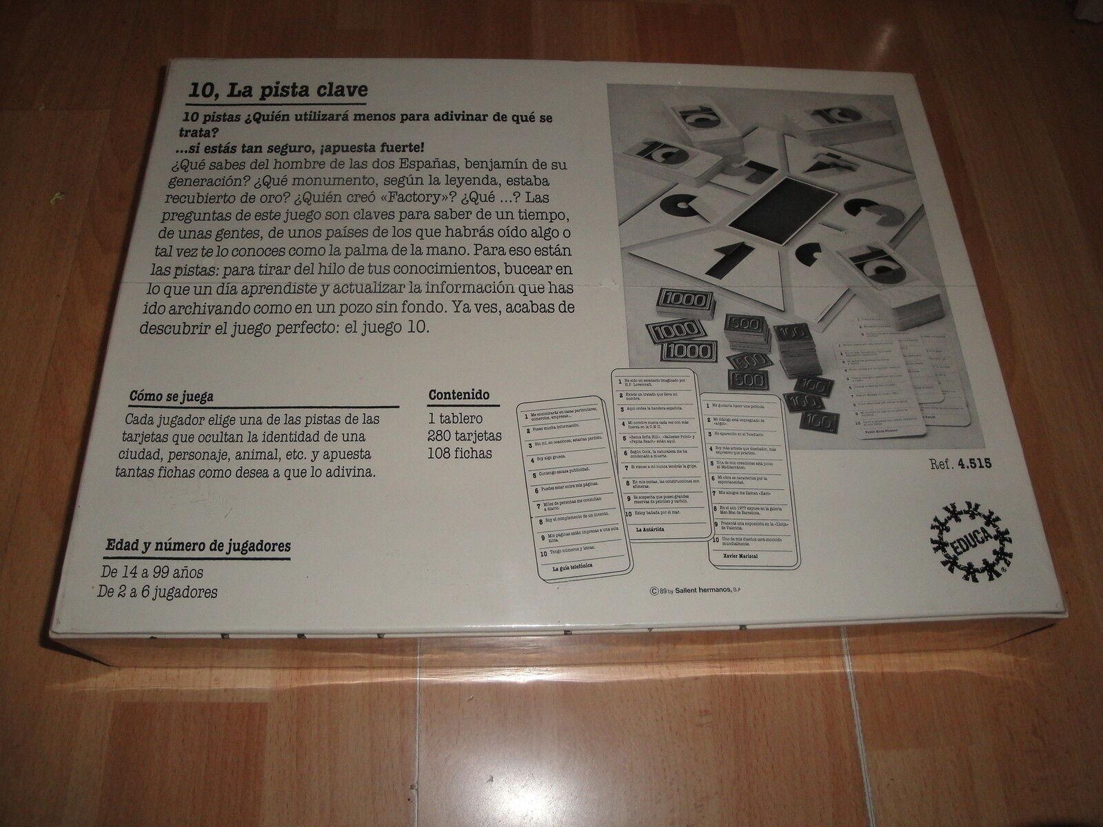 10 10 10 LA PISTA CLAVE DE EDUCA JUEGO DE MESA DE ENTRETENIMIENTO NUEVO PRECINTADO 73366d
