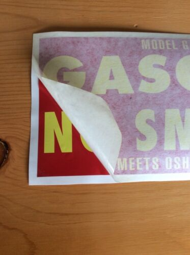 "VINTAGE Gasoline No Smoking Safety Decal Sticker 5/""X11.5/"" OSHA APPROVED"