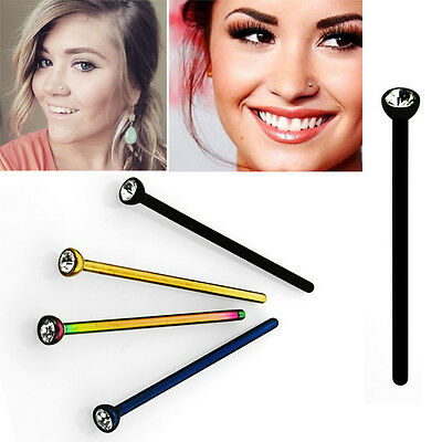 You Bend It Anodized Steel Nose Stud 2mm Round CZ Crystal Gem 0.8mm 1-4PC 20g