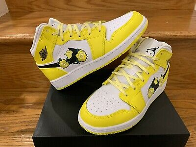 Nike Air Jordan 1 Mid Yellow Floral White Girls Women GS Size 4Y ...
