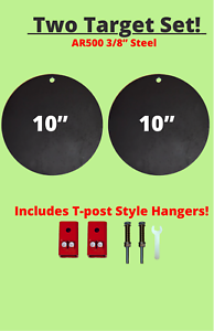 """Two Piece Set! AR500 3//8"""" Steel Target And T-Post Hanger Compete Kit"""
