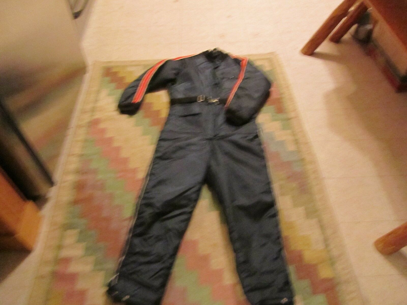 Vtg  Western Field acrylic knit collar race stripe arms red lined LG snowsuit