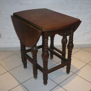 Gateleg Tisch.Details Zu Alter Beistelltisch Klapptisch Gateleg Tisch Eiche 8 Beinig Massiv