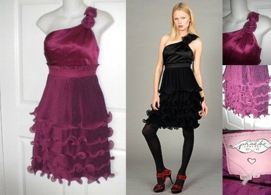 Phoebe Couture Fuchsia Rosa One Shoulder Cocktail Dress0
