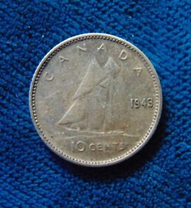 Canada 1943 Ten 10 Cent Silver Dime Canadian Coin Ebay