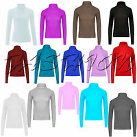 Womens Ribbed Roll Neck Top Ladies Rib Polo Neck Jumper Long Sleeve T Shirt 8-22