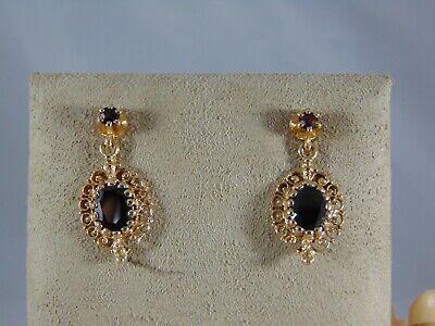Granat in Gold 333 6130//3GR Gelbgold Ohrhänger Hänger Damen Ohrringe m