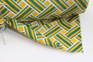 Stoffbahn-Stoff-fabric-gruen-gelb-original-vintage-Synthetik-1970er-lfd-Meter