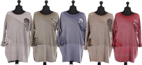 New Italian Ladies Women Acid Dye Contrast Panel Top One Size 14 16 18 20 22