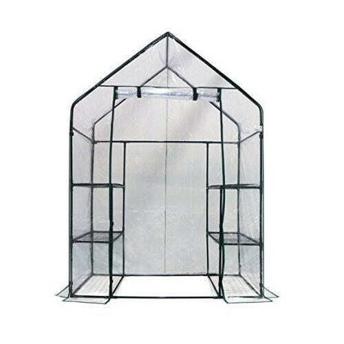 """Homewell Mini Walk-In Greenhouse with 3 Tiers 6 Shelves 56/"""" L x 29/"""" W x 77/"""" H"""