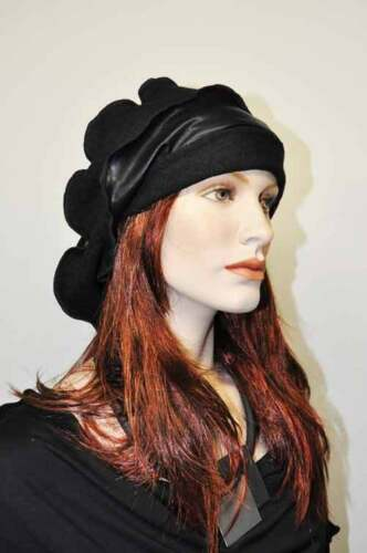 Layered Look Wave Cap Hat Beanie Black Faux Leather & Boiled Wool