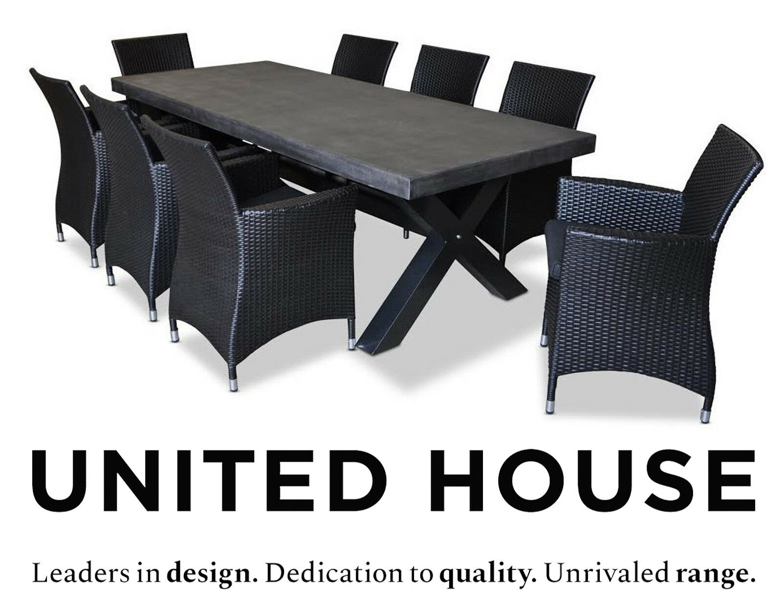 Industrial 8 Seater Poly Cement Dining Table Wicker Chairs Outdoor Furniture Set Ebay