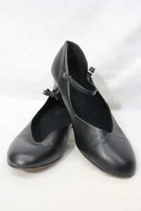 Mary Jane Style Size 9w #550-b51 Black Leather Womens/adult Dance Heels