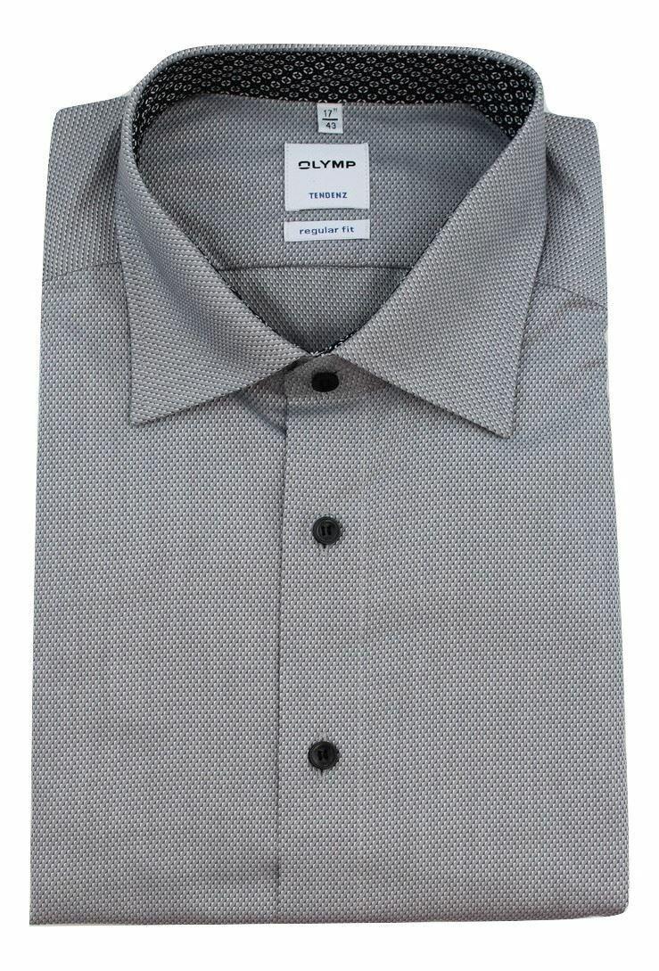 Grey Pique Contrast Spread Collar