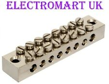 8 WAY EARTH TERMINAL CONNECTION BLOCK SOLID BRASS ELECTROPLATED NICKEL FINISH