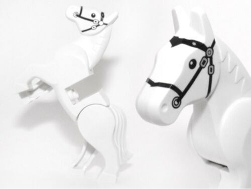 LEGO White Horse with Moveable Back Legs And Black Bridle / Mini Figures Animal