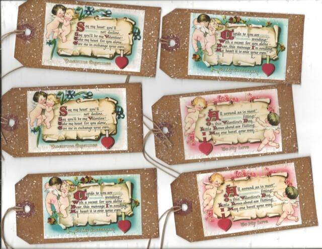 12 PRIMITIVE TAGS~Valentine Primitive~A Special Valentine for You! set IV