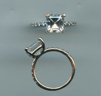 925 Sterling Silver 2.25 Carat Princess Cut Signity Cz Engagement Ring Size 7.75