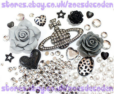 DIY cell phone case bling Saturn flower black silver cabochon decoden deco kit
