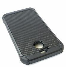 For HTC Bolt / 10 Evo - HARD RUBBER HYBRID ARMOR CASE COVER BLACK CARBON FIBER