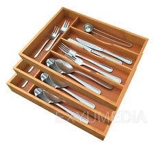 3x Bambus Besteckkasten Holz Schubladeneinsatz Besteckeinsatz Bamboo Besteck Box