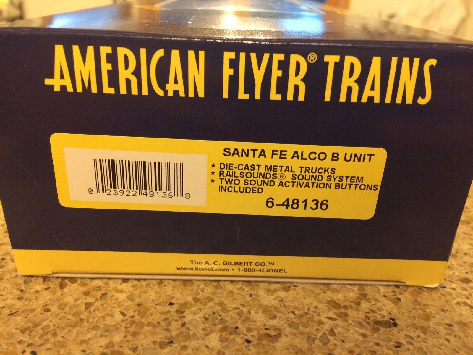 Escaso American Flyer Santa Fe Alco B Unidad con RailSounds Nuevo en Caja Nunca Usado