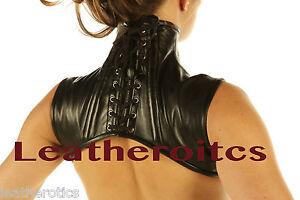 Leather-Shoulder-Corset-Goth-Black-High-Collar-VICTORIAN-STEAMPUNK-shrug-Cape