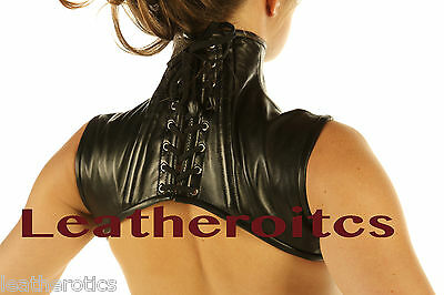 Leather Shoulder Corset Goth Black High Collar VICTORIAN STEAMPUNK shrug Cape