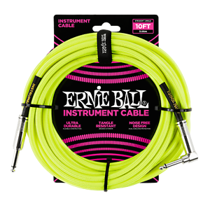 Ernie Ball 10ft /3m Neon Yellow Braided Right Angle - Straight Jack Cable
