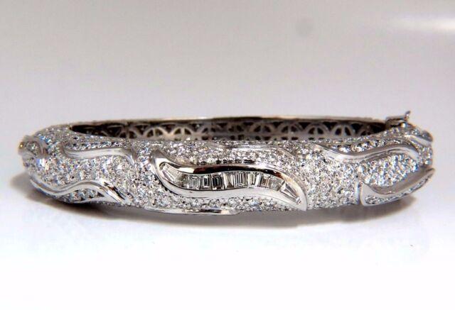 14.02ct natural diamonds eternity encrusted bangle bracelet 18kt