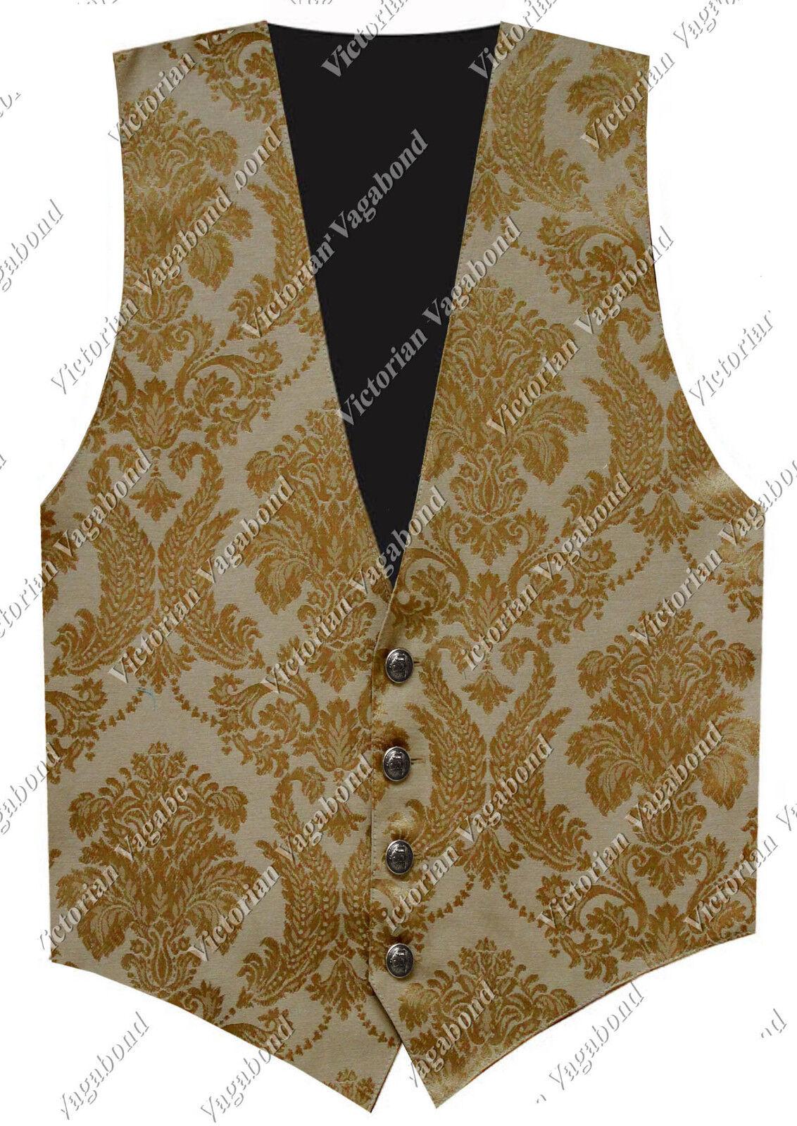 SteamPunk Men gold Gothic Historical Western Pirate Brocade Vest Waistcoat