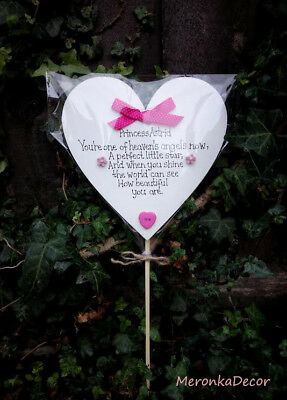 Child Grave Ornament-Personalised 15cm Memorial heart Pink-Baby funeral verse